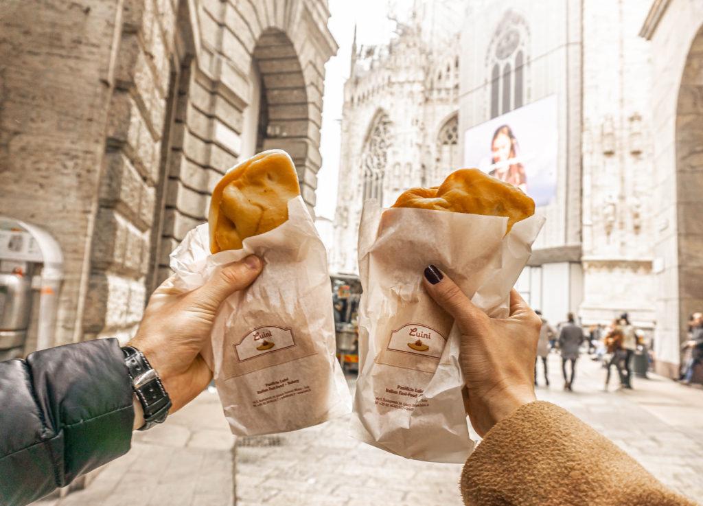 panzerotti street food streets of milan italy, milano