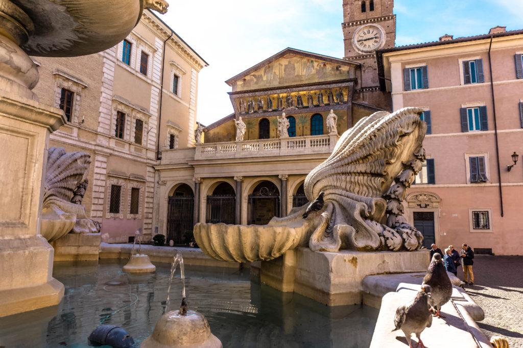 Piazza in Santa Maria in Trastevere, Rome, Italy