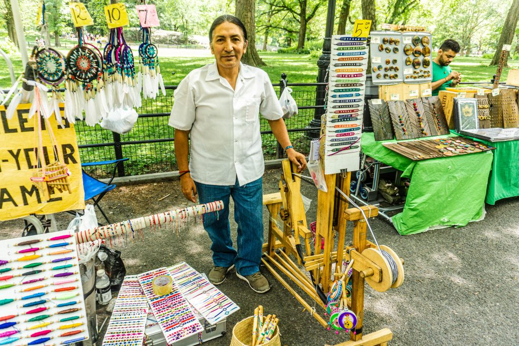 street vendor, craft man central park new york