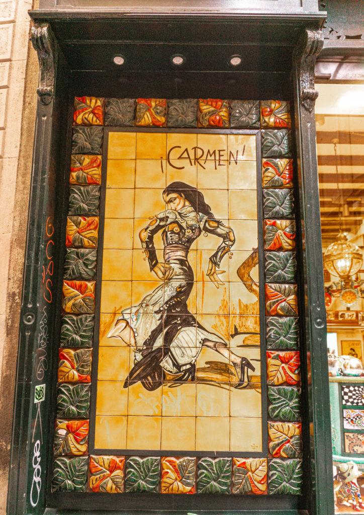 ceramics in gothic quarter, barcelona, spain