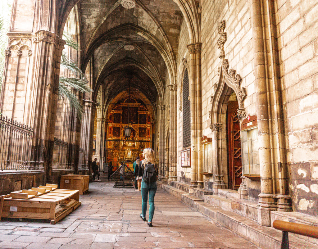 Barcelona Cathedral traveling solo, Spain